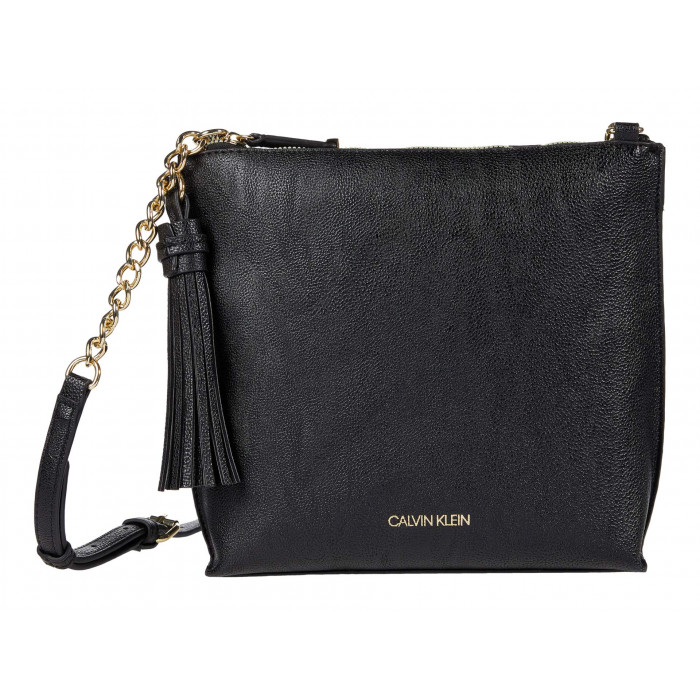 Calvin Klein Novelty Northu002FSouth Top Zip Tassel Crossbody